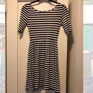 Navy Blue & White Striped Cotton Dress